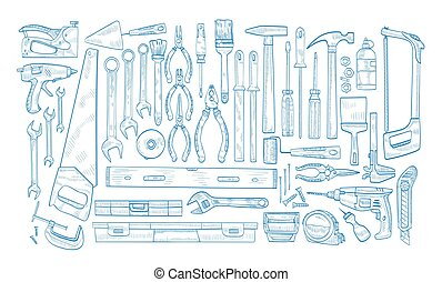 Collection of manual and powered electric tools for ...