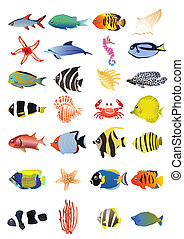 marine animals - Collection of marine animals, vector ...