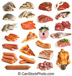 Collection of meat and seafood