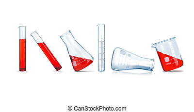 collection of medical flasks on a white background