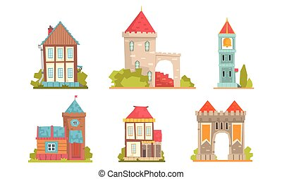 Collection of medieval buildings in the European style. Vector illustration.