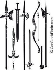 collection of medieval weapons - set of simplified black-and...