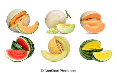 collection of melon isolated on white background