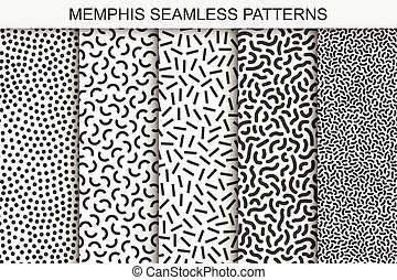 Collection of memphis seamless patterns. Black and white textures. Trendy fashion design 80-90s.