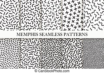 Collection of memphis seamless patterns. Fashion 80-90s. Black and white mosaic textures.