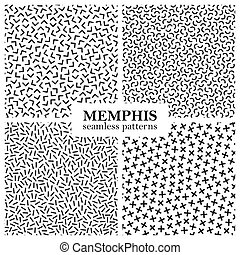 Collection of memphis seamless patterns. Fashion design 80-90s.