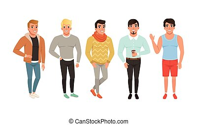 Collection of Men Dressed in Casual Clothes, Bundle of Street Style Outfits, Guys Wearing Trendy Apparel Cartoon Style Vector Illustration