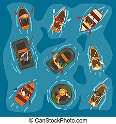 Collection of Men Rowing Wooden and Rubber Inflatable Boats in the Sea, Top View Vector Illustration