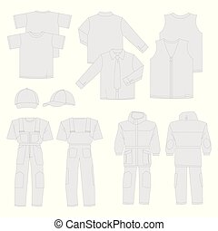 Collection of men work clothes (front, back, views)