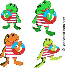 Collection of merry frogs with a bathing circle in the hand, cartoon on a white background.