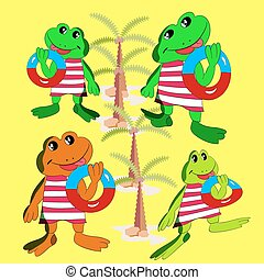 Collection of merry frogs with a bathing circle in the hand, a cartoon on a background zolot.vector