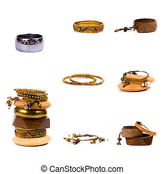 bracelets - collection of metal and wooden bracelets...