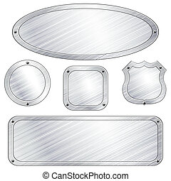 Collection of metal plaques with screws. Graphics are grouped and in several layers for easy editing. The file can be scaled to any size.