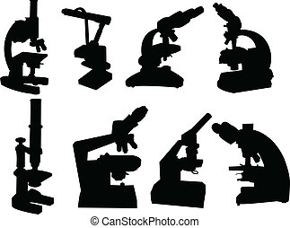 Collection of microscope silhouette - vector