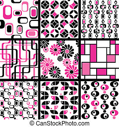 Collection of mod seamless patterns - Nine 1960s mod ...