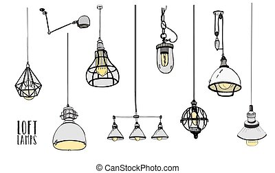 Collection of modern isolated loft lamps, vintage, retro style light bulbs. Hand drawn vector illustration.