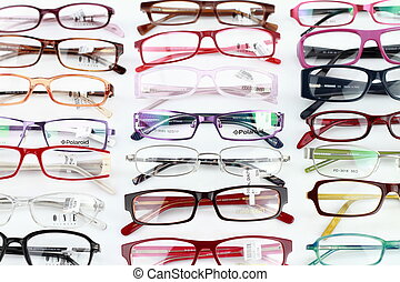 Collection of modern medical eyeglasses