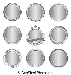 Collection of modern, metal silver circle metal badges, labels and design elements. Vector illustration