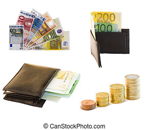 collection of money and bills in white background