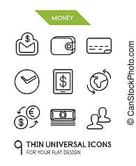 Collection of money finance trendy thin line icons