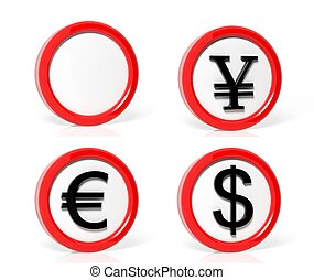 Collection of money symbols traffic signs isolated on white background
