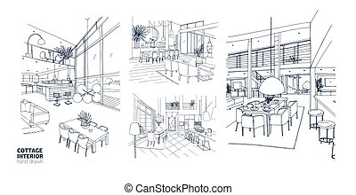 Collection of monochrome drawings of summer cottage interiors full of stylish furniture. Bundle of house rooms hand drawn with black contour lines on white background. Realistic vector illustration.