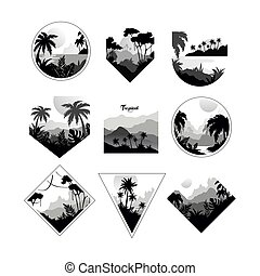 Collection of monochrome geometric tropical logo, badges with tropical trees, retro style design for banner, poster, placard, brochure vector Illustrations on a white background