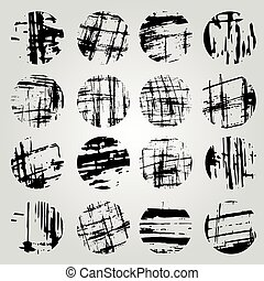 Collection of monochrome grunge band line on a light background