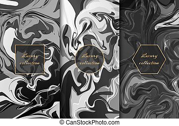 Collection of monochrome marble backgrounds - Collection of...