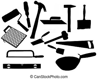 Collection of most common types of masonry tools, illustration