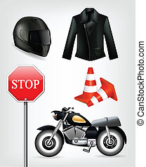 Collection of motorcycle objects including helmet, jacket, traffic cones, stop sign and motorbike . Clip-art, Illustration.