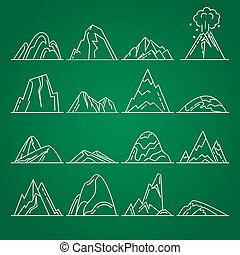 Collection of mountain icons in thin line style