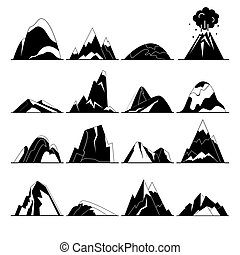 Collection of mountain silhouette icons in flat style