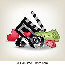 Collection of movie objects with hearts on gray background