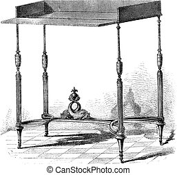 Collection of Mr Double. - Table supposed to have belonged to the daughters of Louis XV or the eldest son of Louis XVL. Drawing Sellier, vintage engraving.