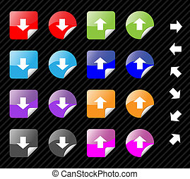 Collection of multi colored vector sticky icons with arrows for directions. Easy to edit, any size. Aqua web 2.0