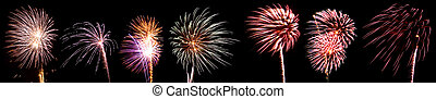 Collection of Multicolored Fireworks with Rocket Trails Against a Black Sky