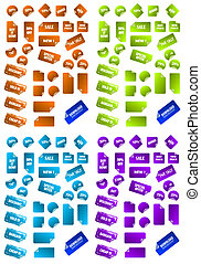 Collection of multicolored vector sticky marketing labels....
