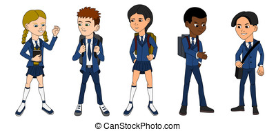 Collection of multiracial school ki
