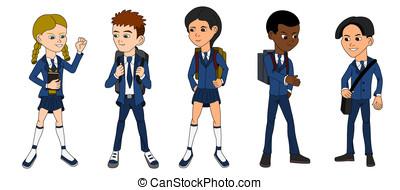 Collection of multiracial school ki
