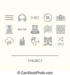 Collection of music elements outline icons isolated