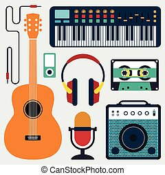 Collection of music instruments and sound flat design vector illustration