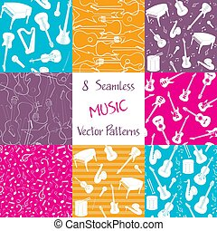Collection of music seamless patterns - Collection of...