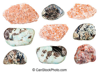 various Pegmatite rocks isolated on white