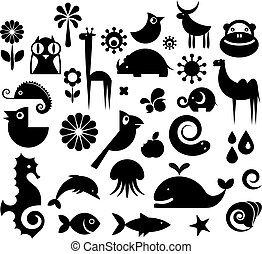 A set of black and white silhouette of birds, animals and flowers
