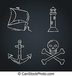 Collection of nautical icon sketches on chalkboard
