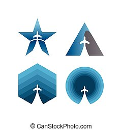 Collection of negative space plane in a shape