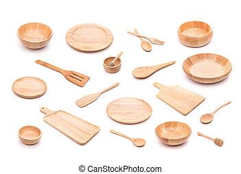 Collection of new wooden kitchen utensil, bowl, plate,...