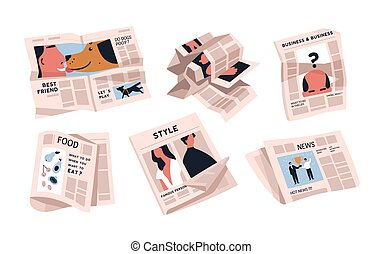 Collection of newspapers isolated on white background. Bundle of periodical publications of various articles - news, food, business. Colorful vector illustration in modern flat cartoon style.