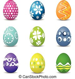 Collection of nine brightly coloured Easter eggs